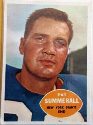Pat Summerall Topps 1960 New York Giants NFL Sord Car #77 N.Y Giants