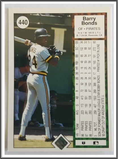 Barry Bonds Upper Deck 1989 Back