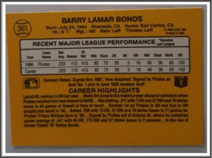 Barry Bonds Donruss 1987 Back
