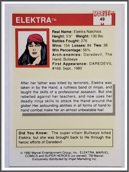 Elektra Marvel Comics Card 1990 Back