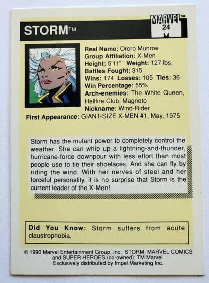 Marvel Comic Card 1990 Storm #24 Back