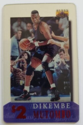 Dikembe Mutombo $2 Phone Card Classic Clear Assets 1996 NBA Card #20 of 30