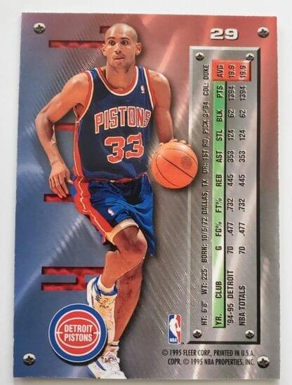 Grant Hill Fleer Metal 1995 NBA Trading Sports Card #29 Back
